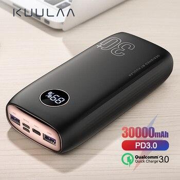 KUULAA Power Bank 30000 mAh USB typ C PD szybkie ładowanie + szybkie ładowanie 3.0 PowerBank 30000 mAh zewnętrzna bateria do Xiaomi iPhone