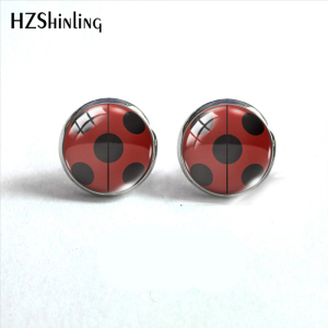 2019 New Arrival Ladybug Insect Stainless Steel Plated Earrings Jewelry Cute Ladybug Stud Earrings Hand Craft Jewelry Gifts(China)