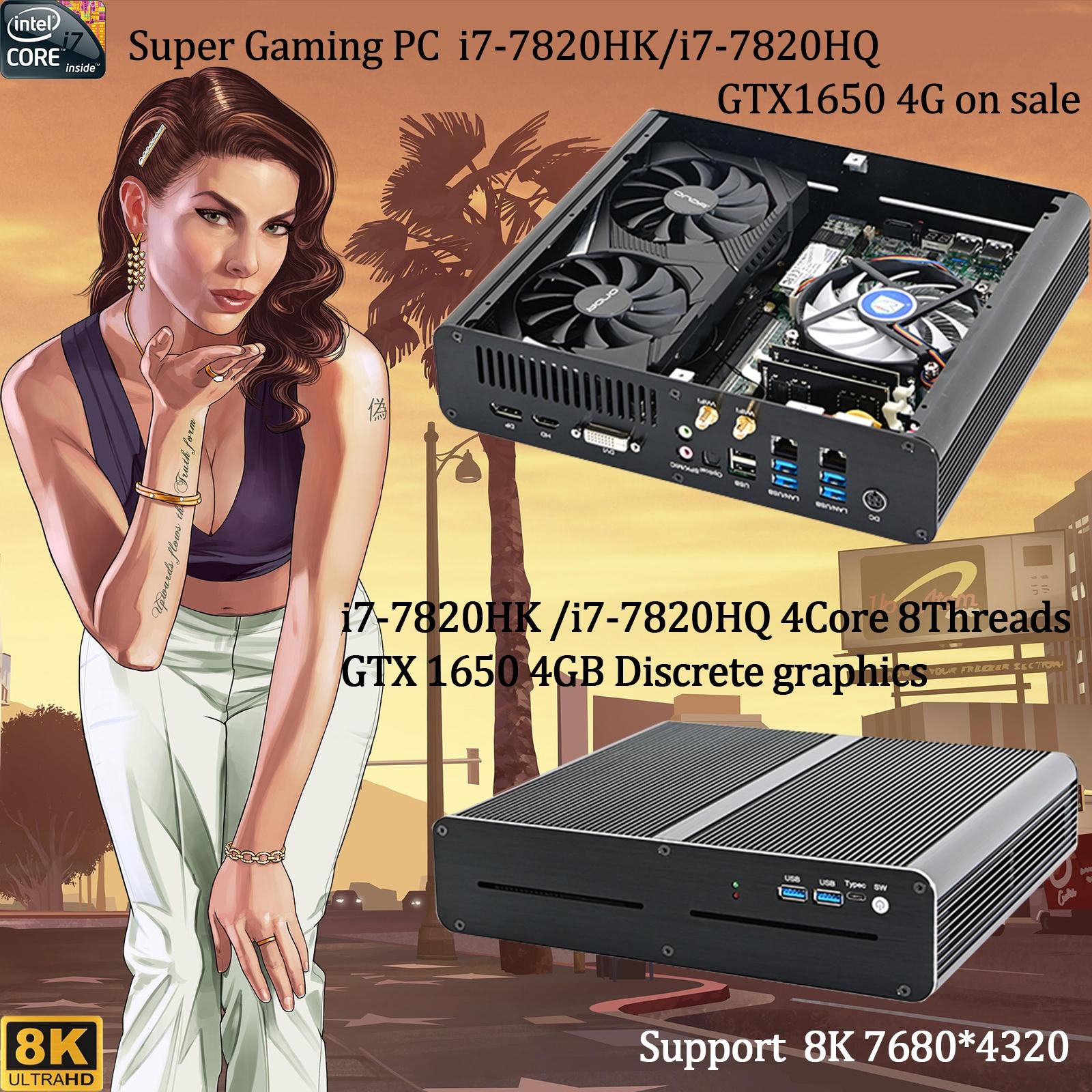 Супер мини игровой пк, Intel Core i7-7820HK/i7-7820HQ GTX 1650, 4 Гб, 2 * DDR4, настольный компьютер, windows 10, 4K, DVI, HDMI, DP