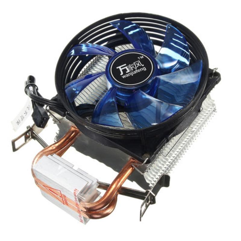 Quiet LED 3Pin Power CPU Cooler Dual Fan Heatsink For Intel LGA775 1156 1155 AMD
