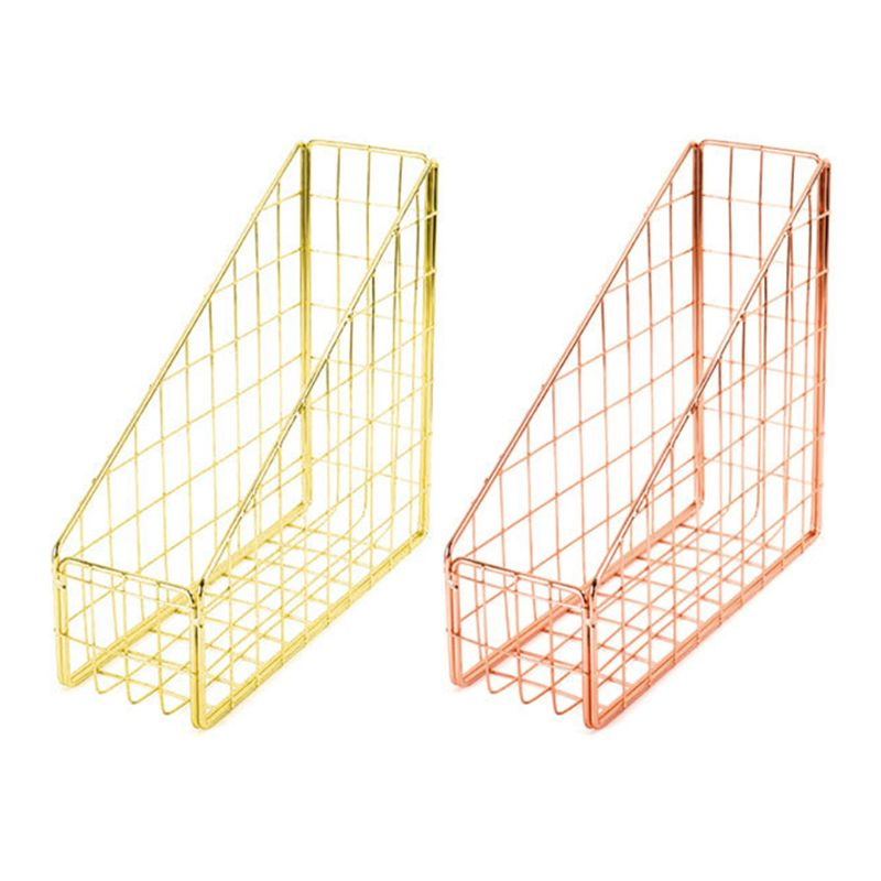 Nordic Wrought Iron Grid File Holder Simple Single Layer Desk Shelf Magazine Book Storage Rack Home Office Stationeries