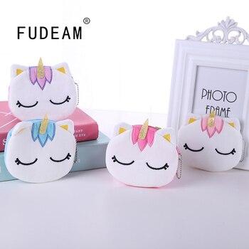 Мягкий плюшевый женский кошелек для мелочи FUDEAM с мультяшным единорогом, милый Овальный Мини Кошелек на молнии для детей и девочек, кошелек д...