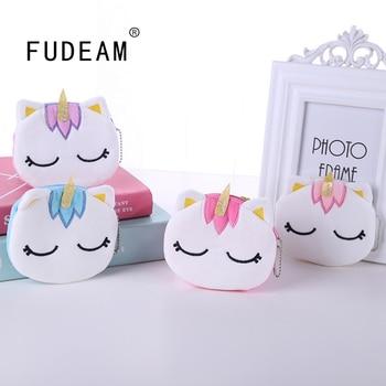 FUDEAM Soft Plush Cartoon Unicorn Women Coin Purse Mini Cute Oval Zipper Children Girl Wallet Card USB Cable Bag Key - discount item  58% OFF Wallets & Holders