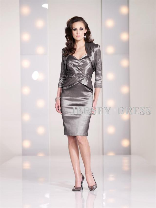 free shipping dinner cocktail jurken hot new fashion formal plus size short Mother of the Bride Dresses with long sleeve jacket
