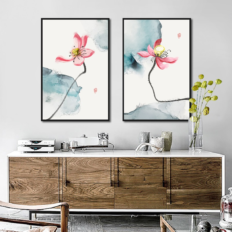 Pink Lotus Poster Chinese Style Elegant Canvas Flower Wall Art Hd Print Painting Home Decoration For Gallery Living Room