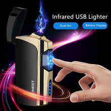 Green Laser Touch Dual Arc Electronic Lighter Windproof Metal Pulsed Lighters USB Recharge Cigarette