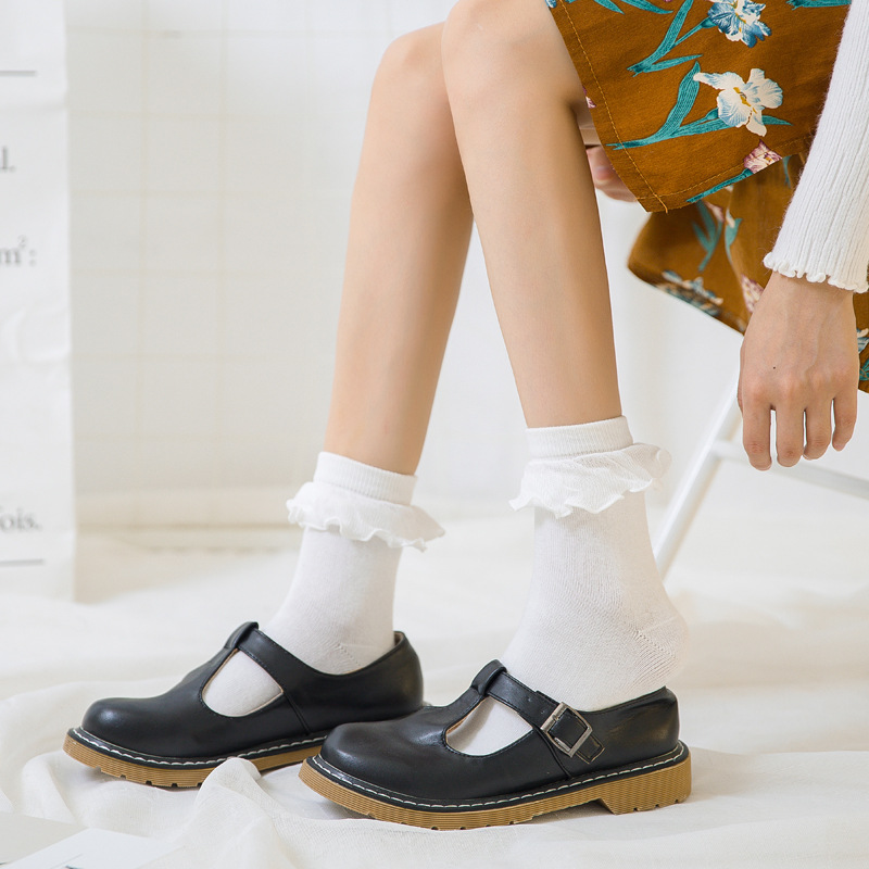 Japanese Kawaii Women's Socks With Lace Lovely Sock Cute Ladies Socks For Women Lace Meias Femininas Ruffle Retro Socks Female