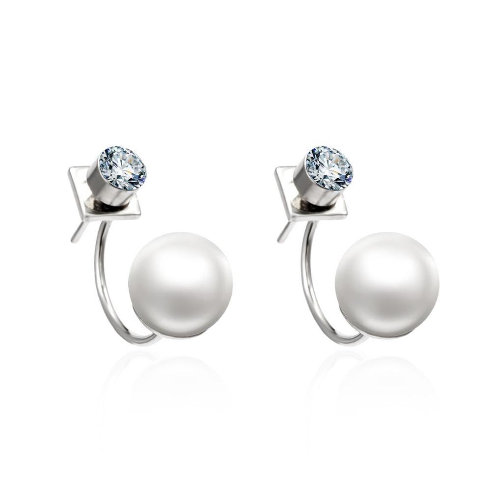 1 Pair New Fashion Alloy 1cm Imitation Pearl Rhinestone Back Hanging Stud Earring Female Charm Jewelry Gift(China)