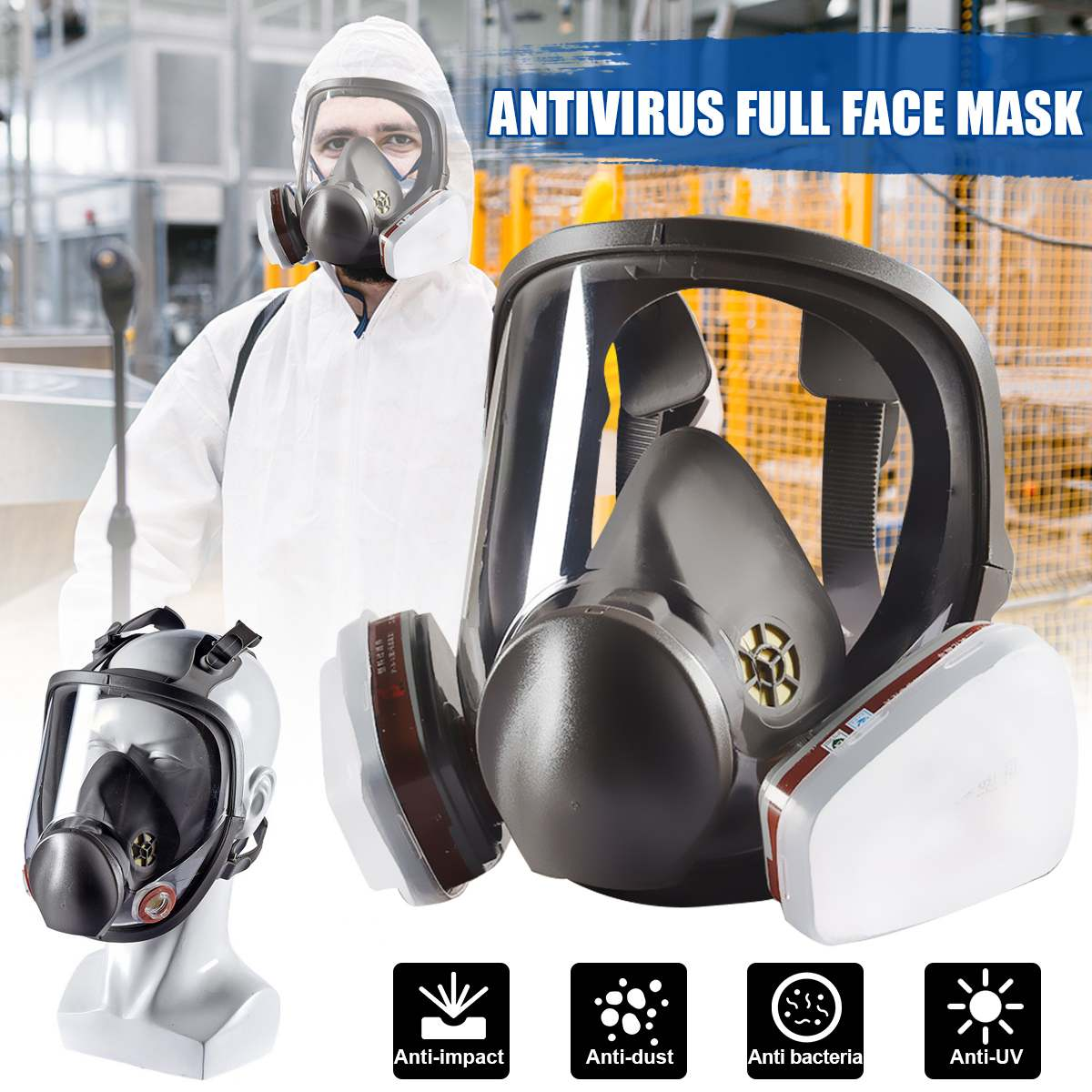 7/15 In 1 Suit Painting Spraying Chemcial Respirator With Filter Cotton Filter Box Adjustable For Gas Mask Full Face Facepiece