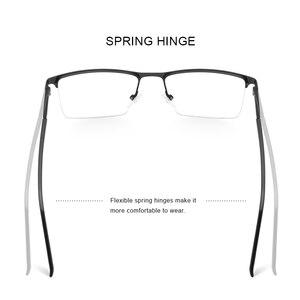 Image 3 - MERRYS conception de lunettes pour hommes, monture de lunettes en alliage carré demi optique ultraléger, Style Business, pour myopie, Prescription, S2051