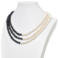 7 8mm 3rows Natural Black and White Pearls Created For Necklace 18inch Making Diy jewelry Gifts H473