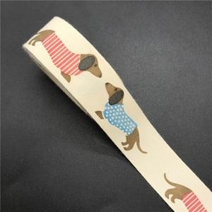 10mm 15mm 5 jardas fita de algodão impresso dachshund fita design feito à mão para costura tecido decoração de natal