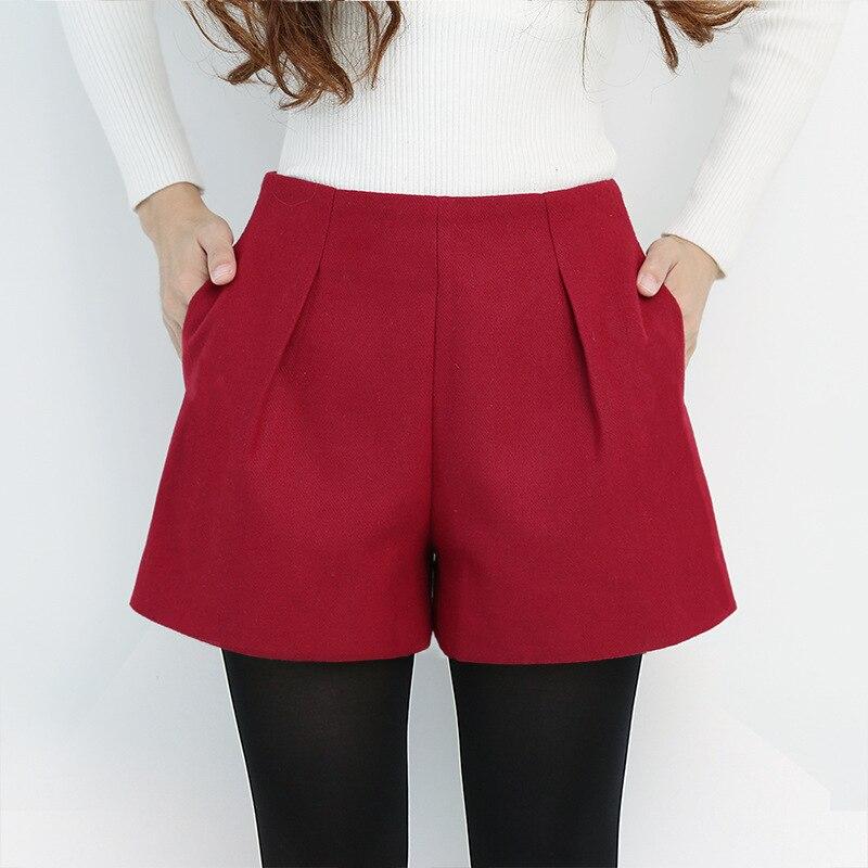 S-2xl Winter Booty Shorts Women High-waist Loose Slim Wool Black Shorts Women Plus Size Ladies Woolen Shorts Feminino