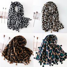 Женский винтажный хлопковый шарф с леопардовым принтом контрастный