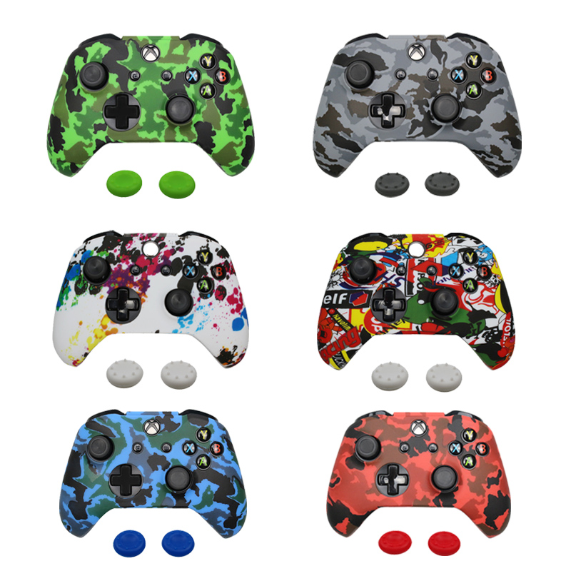 For Xbox One S Controller Gamepad Camo Silicone Cover Rubber Skin Grip Case Protective For Xbox One Slim Joystick
