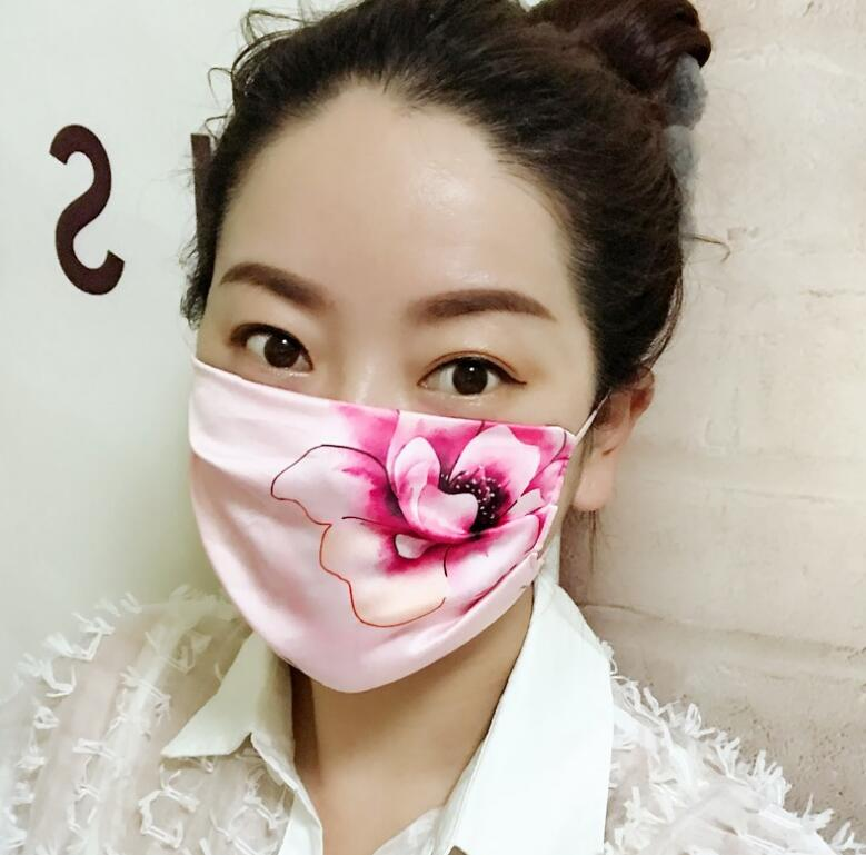 Women's Floral Print Sunscreen Imitation Silk Mask Lady's PM 2.5 Breathable Embroidery Cotton Lining Lace Mouth-muffle R454