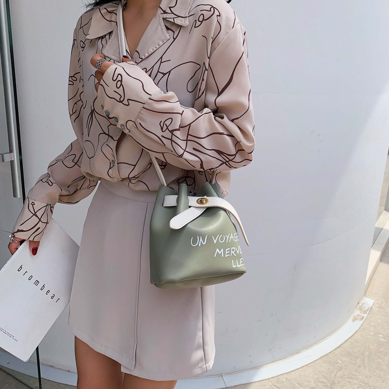Letter Bucket Bag Women's 2021 New Fashion Simple Pu Bags One Shoulder Messenger Bag Women Crossbody Bags
