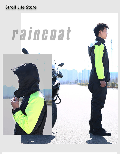 Rain Coat Men Jacket Motorcycle Raincoat Rain Pants Set Waterproof Thickening Rain Poncho Rainwear Impermeable Mens Sports Suits 3