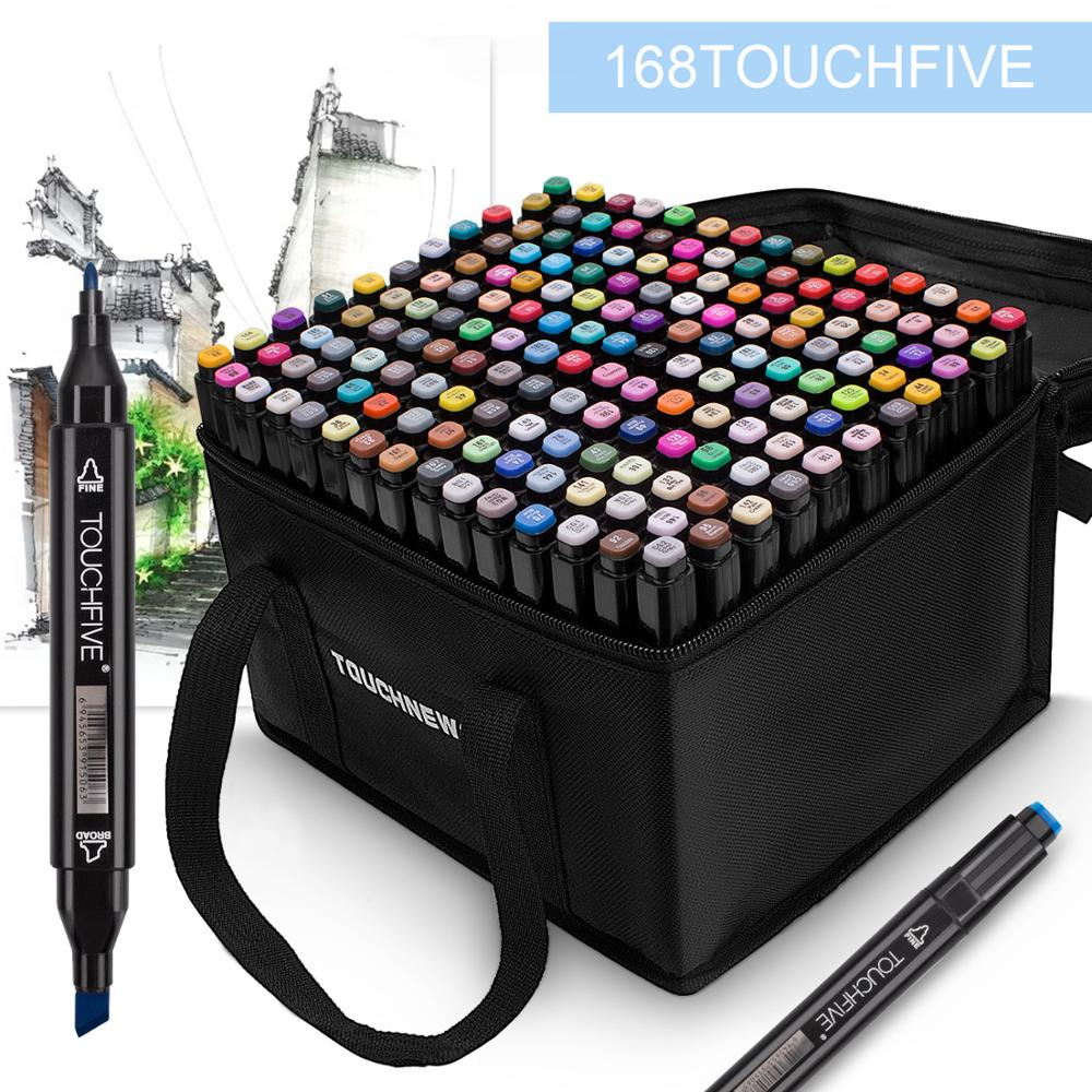 TOUCHFIVE Markers 30 40  80 168 Colors Dual Tips Alcohol Graphic Sketch Twin Marker Pen With Bookmark Manga Drawing Art Supplies
