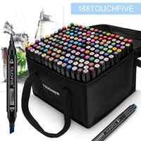 Touchfive marcadores 30 40 80 168 cores pontas duplas álcool esboço gráfico caneta marcador gêmeo com marcador marcador manga desenho arte suprimentos