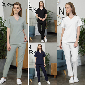 high quality Comfortable Solid color scrubs uniform lab coat Beautician suits pet uniform scrub workwear wholesale Custom logo