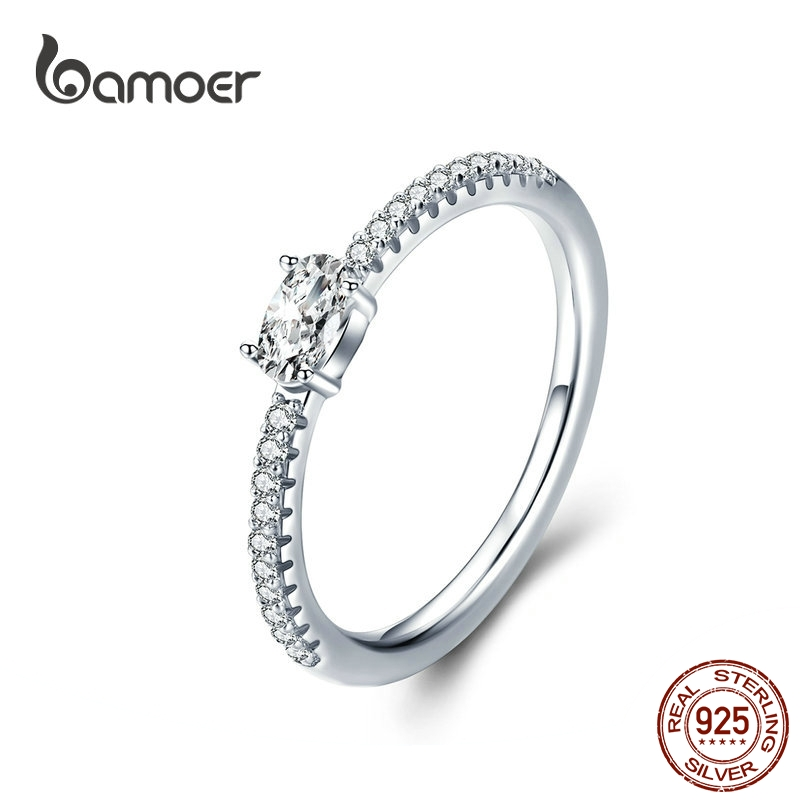 BAMOER Wedding Ring Sterling Silver 925 Clear Cubic Zirconia Engagement Rings For Women Promise Statement Jewelry SCR524