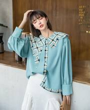 Woman Lantern Sleeve Blue Shirts Lady Baby Collar Women Blouses Femme Autumn Sky Blue Shirts Tops(China)
