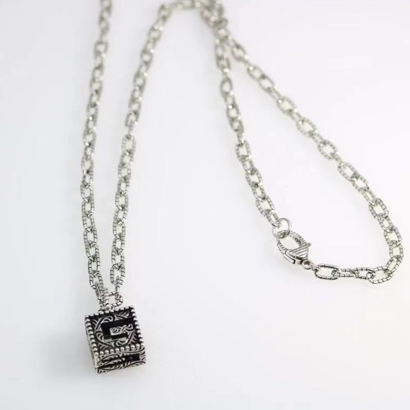 s925 silver exclusive vintage twist neutral necklace, all-match old pattern pendant necklace