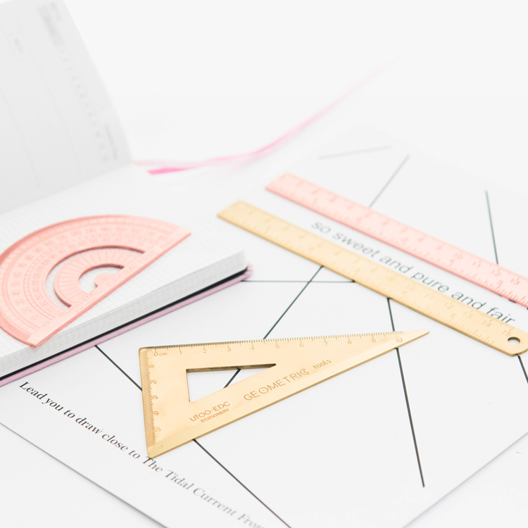 Luxury Gold/Rose Gold Ruler Stainless Steel Protractor Triangle Ruler Multifunctional Rotary Measuring Tools