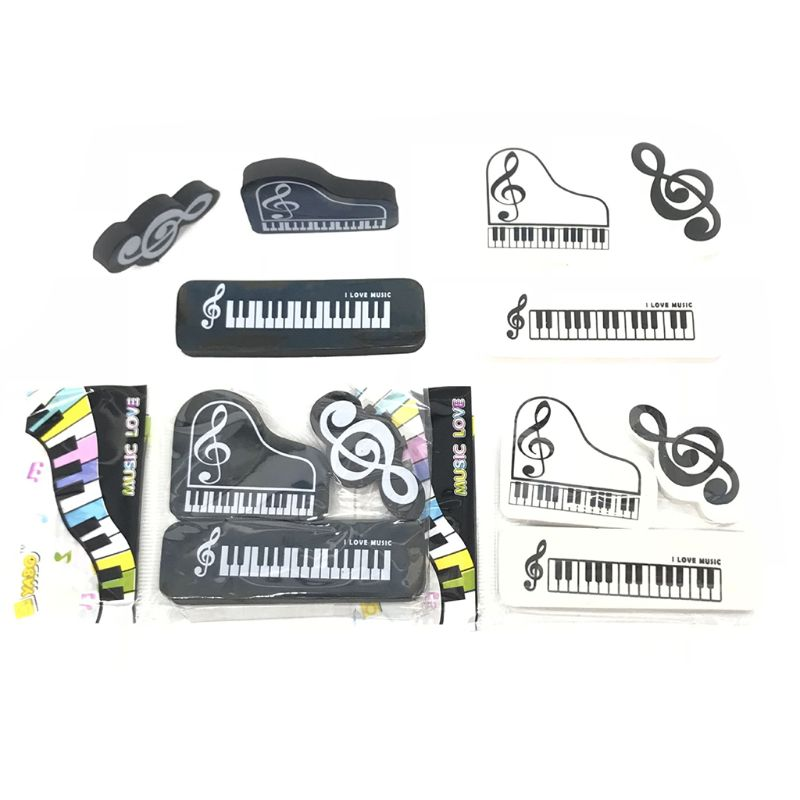 3pcs/set Musical Piano Notes Rubber Pencil Eraser School Student Korean Stationery Correction Supplies For Kids Gifts Y51A