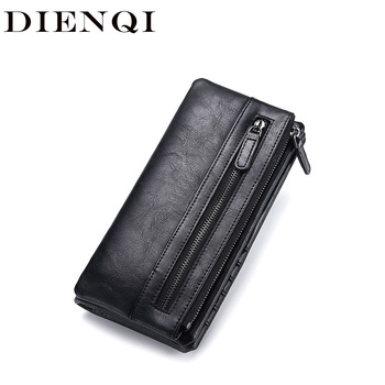 DIENQI Vintage Long Men Leather Wallets Big Money Bags Purses Cell Phone Clutch Bag Bifold Black Male Wallet for Cards and Money baellerry men purses big wallet men coin purse vintage male zipper clutch bag pu leather wallets long phone bag money wallet