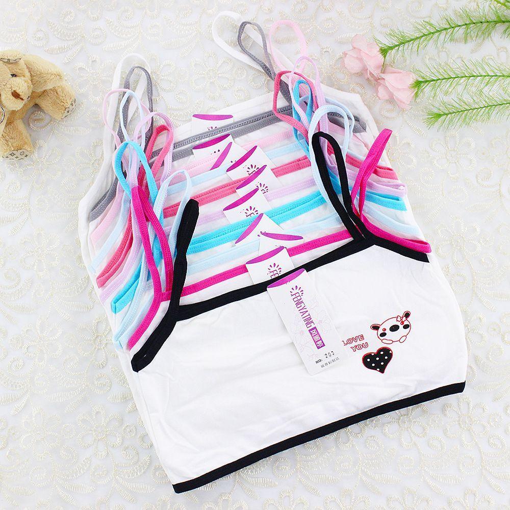 6Pc/Lot Cartoon Vest Young Girl Lingerie Cotton Vest Bra Tops Kids Underwear 7-12years