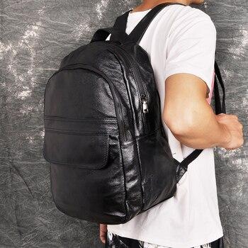 "Quality Leather Heavy Duty Design Men Travel Casual Backpack Daypack Black Fashion Knapsack College School 17"" Laptop Bag BB337"