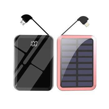 מראה שמש כוח בנק 10000mAh dual USB מובנה 2In1 כבל שמש מטען מיני מראה poverbank חיצוני סוללה עבור Xiaomi