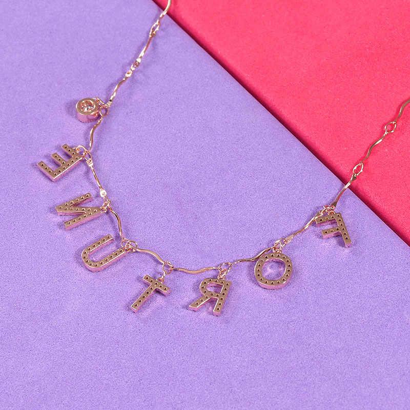 Yoiumit очаровательное пользовательское имя ожерелье чокер письмо циркон ожерелье Женщины Девушка Золото Серебро Письмо ожерелье, персонализированные украшения