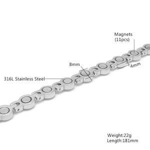 Image 2 - Escalus Vrouwen Zilveren Magnetische Roestvrij Stalen Armband Mooie 13pcs Branded Crystal Bangle Dames Partij Verjaardagscadeau