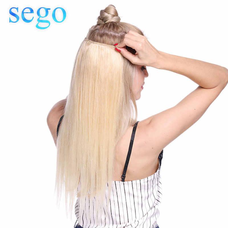 סגו 16-24 אינץ 90g-120g ישר Flip ב שיער טבעי הרחבות פאה כפול דגי קו בלתי נראה חוט שאינו רמי טבעי שיער
