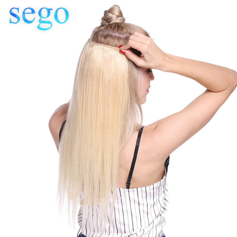 SEGO 16-24inch 90g-120g Straight Flip In Human Hair Extensions Hairpiece Double Fish Line Invisible Wire Non-Remy Natural  Hair