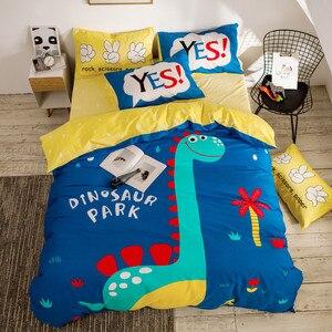 Image 2 - التوأم الملكة حجم 4 قطعة يونيكورن ديناصور حاف الغطاء غطاء سرير 100% القطن لينة تنفس دائم طقم سرير للأولاد الأطفال