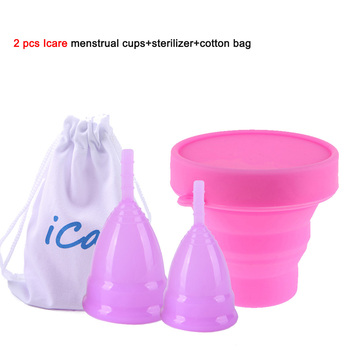 2pcs Menstrual Cup Medical Grade Silicone Collector menstrual Silicone Reusable Lady Cup Sterilizing Women Menstrual Period Cups