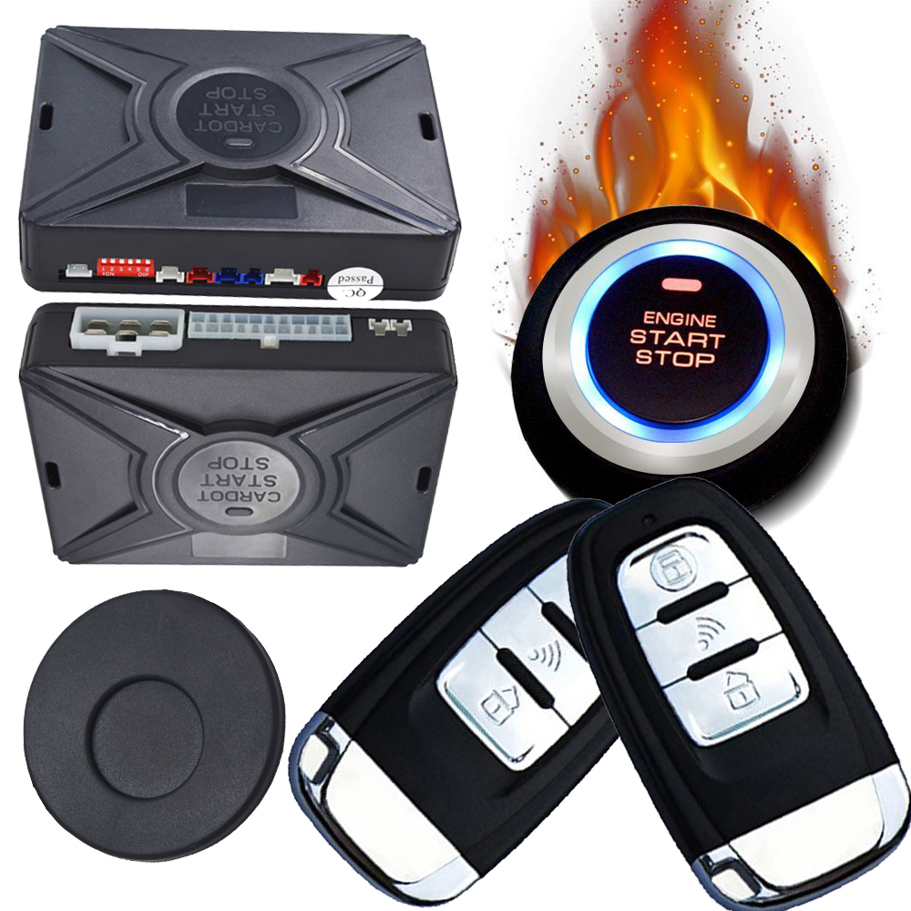 cardot passive car alarm system smart key auto keyless entry ignition button start stop