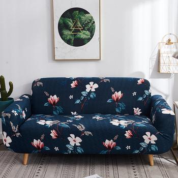 Kwiatowy sofa z nadrukiem pokrywa elastan do salonu home meble dekoracyjne protector stretch elastyczny pokrowiec sofa ręcznik tanie i dobre opinie S-EMIGA Printed Pastoral Floral 100 Polyester Sofa Cover Podwójne siedzenia kanapa