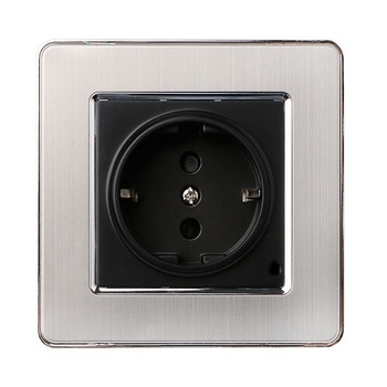 86 type LED random point USB switch mirror acrylic  household  stainless steel  brushed panel 4 Gang 2 Way switch Socket German 11