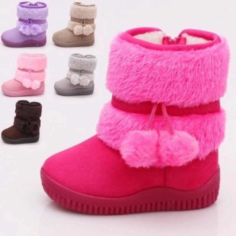 Cute Newborn Baby Girls Boys Thick Warm Lining Pu Leather Winter Anti-Slip Rubber Sole Winter Snow Boot Clode for 1-6 Years Old