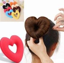 1 шт. Милая тиара в форме сердца инструмент для укладки волос для женщин и девушек губка с мягкой головкой булочка для волос кольцо пончик Бе...