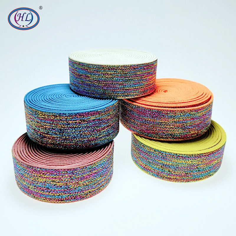HL 23MM 2 Meters/lot Colorful Hot Stamping Elastic Bands DIY Webbing Apparel Bags Sewing Accessories