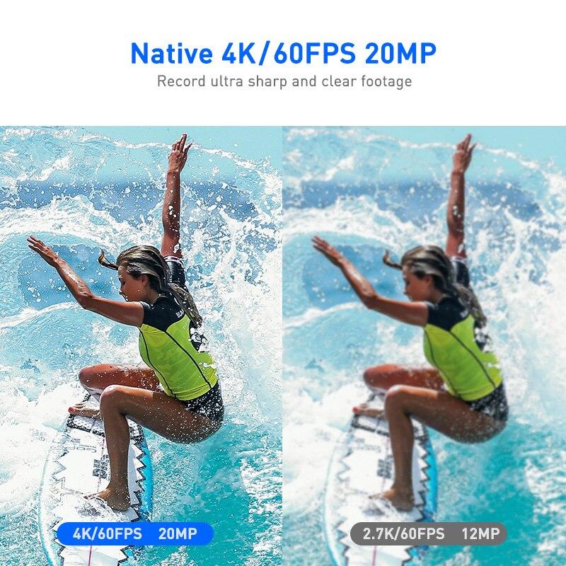 ThiEYE Action Kamera 4K 60fps T5 Pro Unterwasser 60M Wasserdichte WiFi 2.0