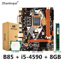Zhankvpai B85 LGA1150 Motherboard set with Intel Core i5-4590CPU 3.3GHz Desktop Memory DDR3 8GB 1600 USB 3.0 VGA DVI HDMI