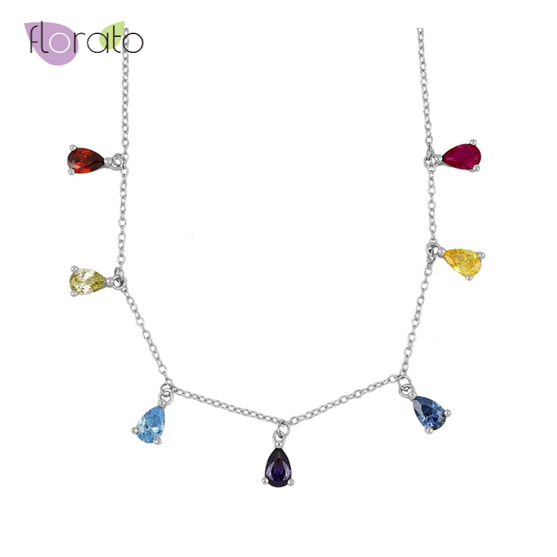 925 Sterling Silver Rainbow water drop Zircon Choker Necklace for Women Gold Silver color Chain Necklace Fashion Jewelry 2020