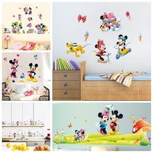Mickey Minnie Mouse baby Cartoon home decals wall stickers for kids room baby bedroom wall art nursery amusement park DIY poster цена